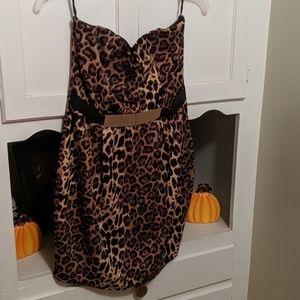Cheetah print tube dress